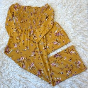 Girls yellow floral wide leg jumpsuit